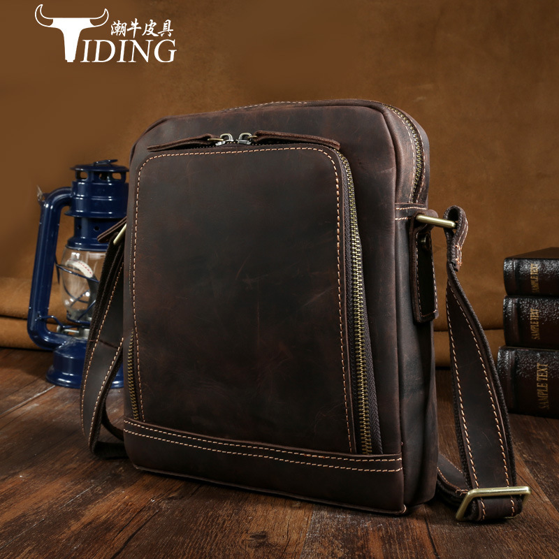 tiding crazy horse leather one shoulder pack cross body travel bag for men women 3141 TIDING Luxury Genuine Crazy Horse Leather Men Satchel Bags Messenger Bag Retro Shoulder Bag Travel Crossbody Bag 2016 New