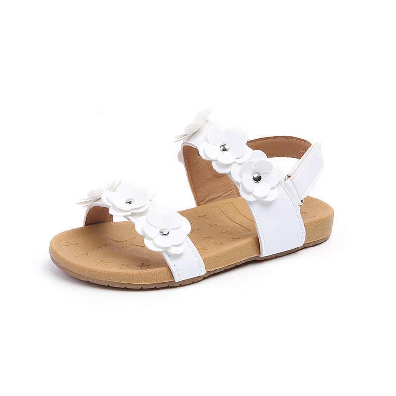 New Toddler Bé Nhỏ của Cô Gái Trẻ Em Mùa Hè Hoa Dép Phẳng Ăn Mặc Giày cho Trẻ Em Gái Bãi Biển Dép 1 2 3 4 5 Năm 2018