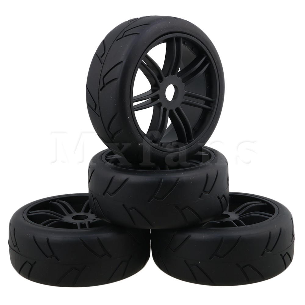 Mxfans RC1:8 Off-Road Car H Pattern Rubber Tyre & Plastic Double 7-Spoke Wheel Rim with 17mm Drive Hex Pack of 4 black 7 spoke plastic wheel rim
