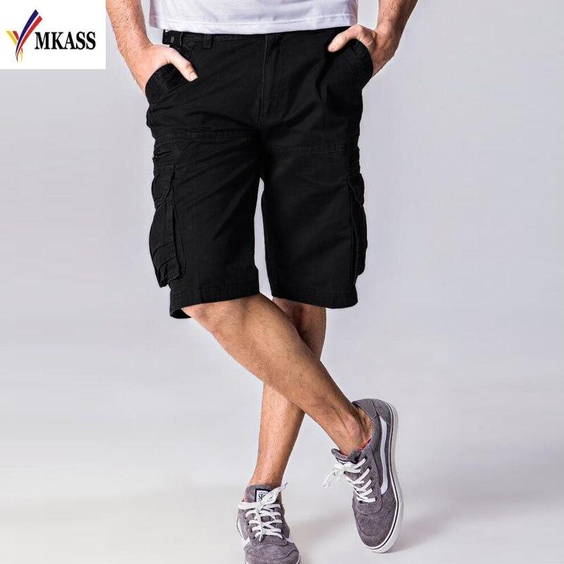 MKASS Summer Mens Baggy Multi Pocket Military Zipper Cargo Short Hot Breeches Male Long Army Green Khaki Men Tactical Short