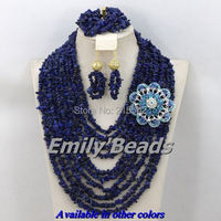 Blue Nigerian Wedding Beads Jewelry Sets 2014 New African Costume Bridal Jewelry Sets Christmas Gift Free