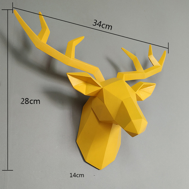 Home Statue Decoration Accessories 34x28x14cm Vintage Antelope Head Abstract Sculpture Room Wall Decor Resin Deer Head Statues 4