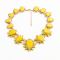 Charming Accessory Resin Zinc Alloy Bohemia Big Faceted Teardrop Yellow Chokers Necklace