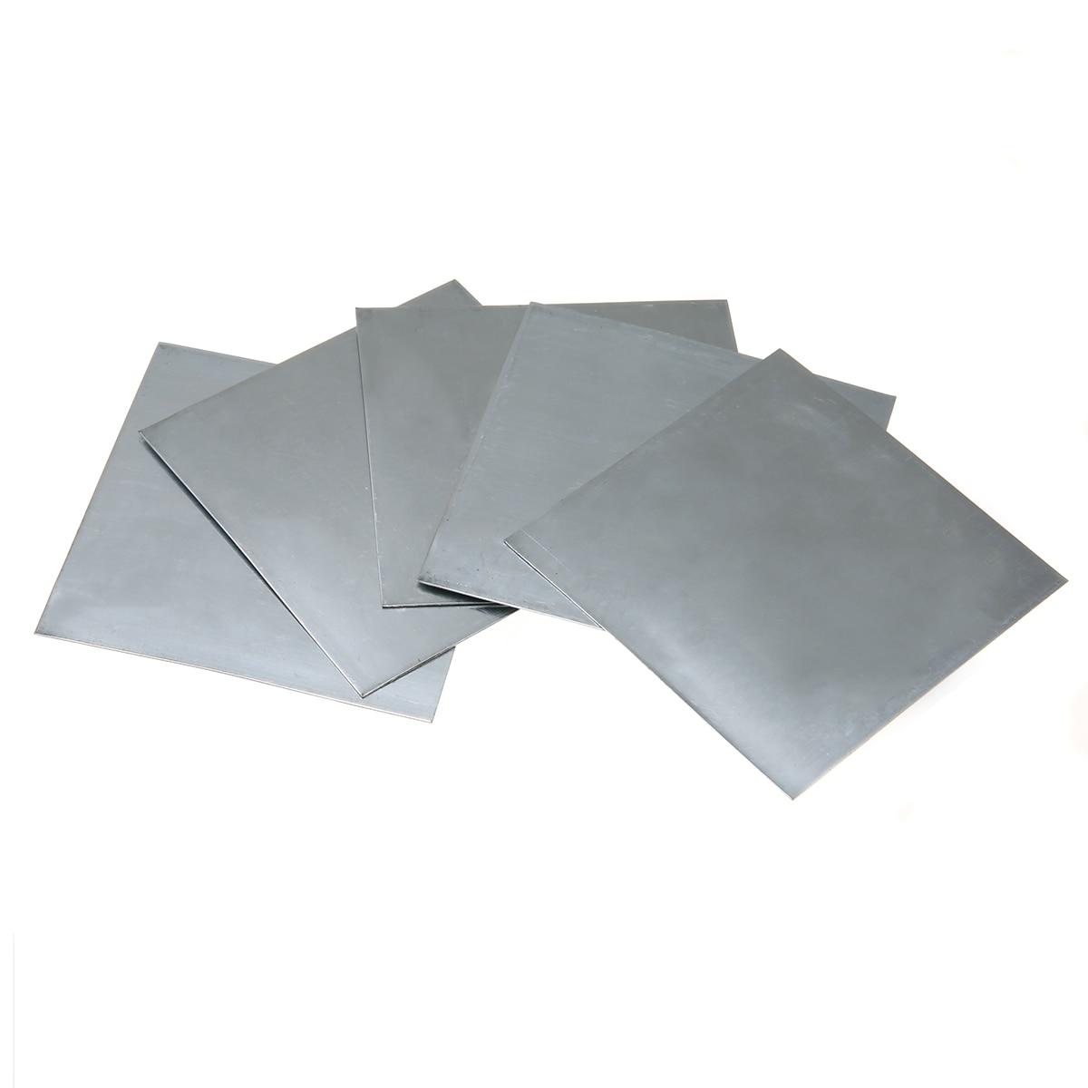 5pcs High-purity Pure Zinc Zn Sheet Plate 0.5mm Thickness Metal Foil 100mmx100mm For Power Tools 1sheet matte surface 3k 100% carbon fiber plate sheet 2mm thickness