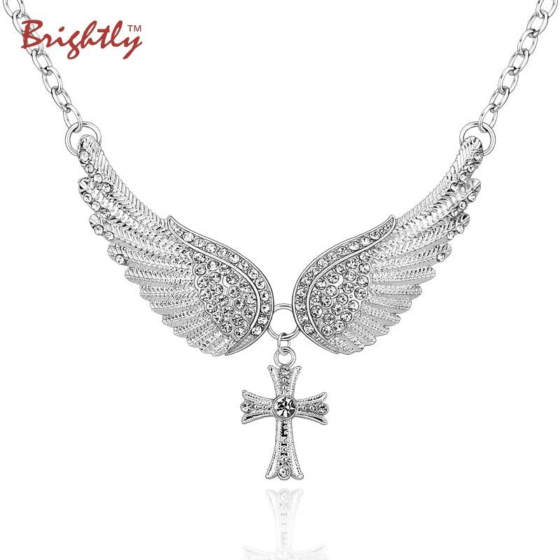 Brightly Горячие Заявление продаж ожерелье чокеровщика Крылья ангела крест подвески ожерелья для женщин Подарки