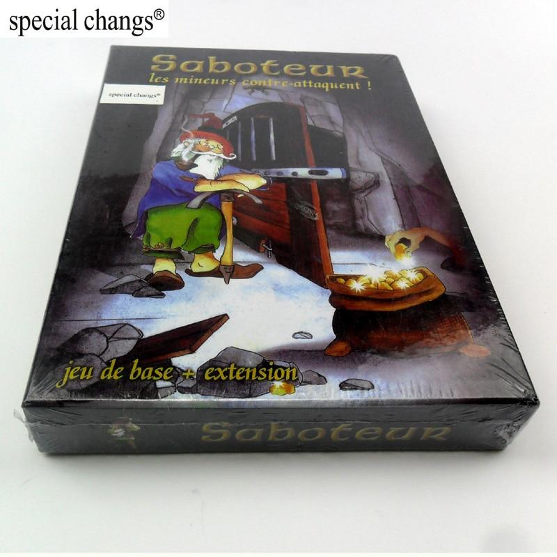 Saboteur 1 + 2 jogos de cartas com instrução em inglês, jogos de tabuleiro dwarf miner jogo de base + placa de extensão jogo jogo tabuleiro