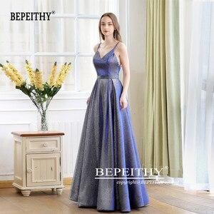 Image 5 - גלימת דה Soiree רעיוני שמלת V צוואר ארוך שמלת ערב המפלגה אלגנטי 2020 קו Shinny שמלות נשף עם חגורה