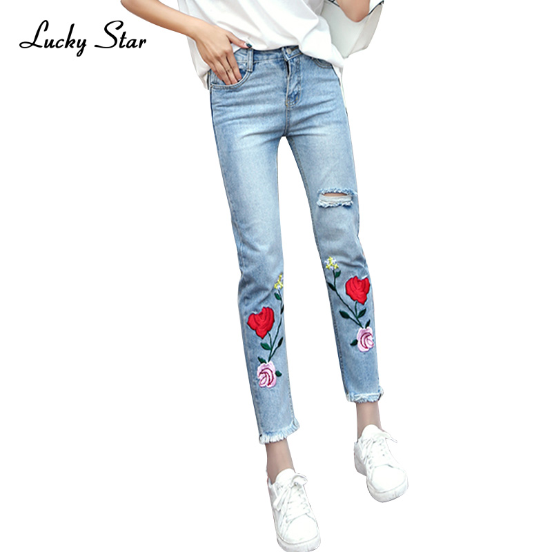 fashion Roses embroidery high waist jeans female hole Straight jeans women bottom Light blue casual pants capris summer D266 flower embroidery jeans female blue casual pants capris 2017 spring summer pockets straight jeans women bottom a46