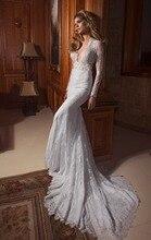 цены на 2016 Sexy White Dresses Deep V Neck Long Sleeves Mermaid Wedding Dresses Lace Bolero Winter Bridal Gowns  в интернет-магазинах