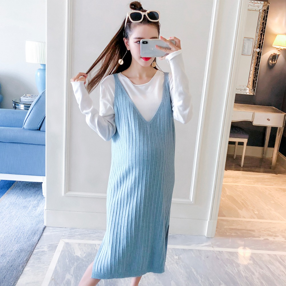 купить Pregnant women autumn jacket two-piece 2018 new fashion long-sleeved bottoming shirt loose long dress set по цене 2342.51 рублей