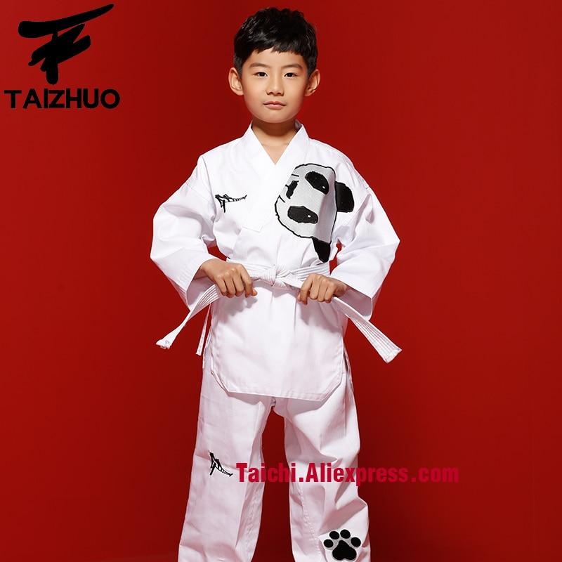 Children Taekwondo Uinform For Poomsae Training WTF Uniform 110 155cm White Color Panda Back Embroidery