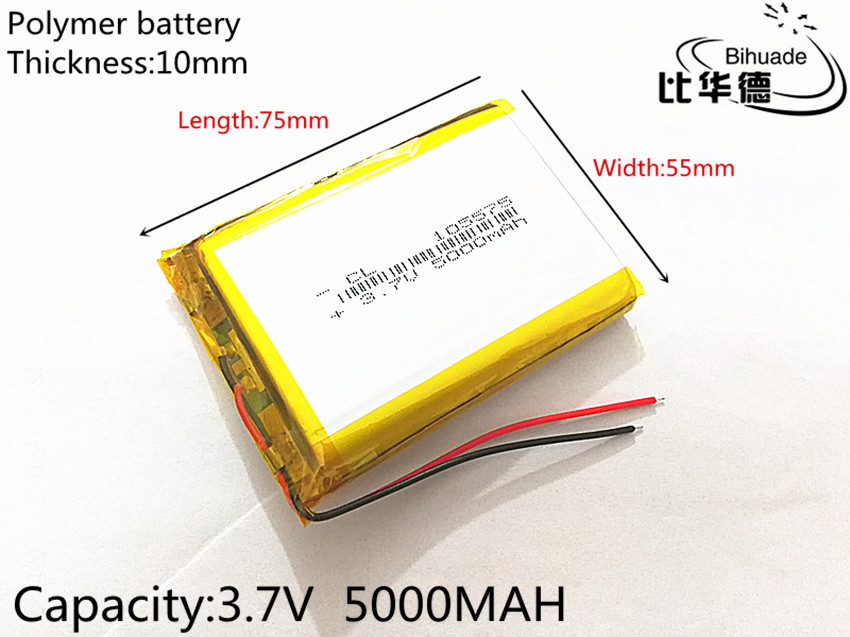 цена на SD 10pcs/lot Free Shipping 105575 3.7 V lithium polymer battery 5000 mah DIY mobile emergency power