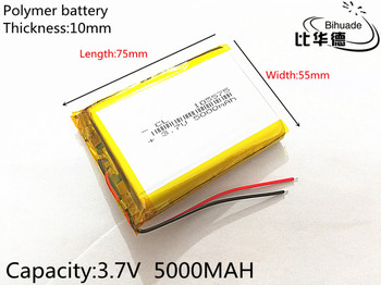 SD 10pcs/lot  Free Shipping 105575 3.7 V lithium polymer battery 5000 mah DIY mobile emergency power
