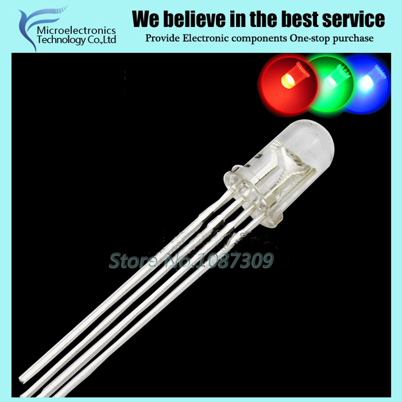 100pcs/lot 5MM RGB LED Common Cathode anode full-Color light-emitting diode LED Foggy transparent red green blue 4 feet