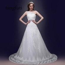 POR muito tempo UMA Linha de Vestidos de Casamento Do Laço Apliques Beading Um Ombro Do Vestido de Casamento Custom Made vestido de Noiva Vestidos de Noiva vestido de noiva