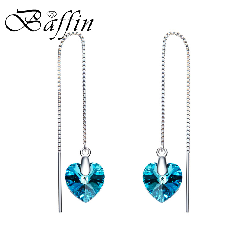 BAFFIN 925 Sterling Silver Long Chain Dangle Earrings Line Fashion Jewelry For Women Crystal From Swarovski Heart Pendant baffin crystal aurore boreale page 2