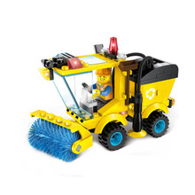 1101 City Series Sweeper Car Truck Building Blocks Sets Brick Compatible Playmobil Toys For Children enlighten 115pcs legoing city road roller forklift truck tractor sweeper building blocks sets educational toys for children