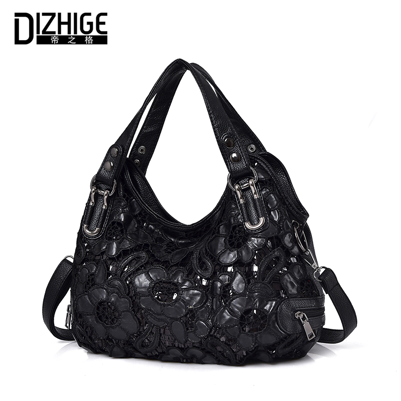 DIZHIGE Brand Black Embroidery Women Handbags PU Leather Floral Shoulder Bags Women High Quality Ladies Hand Bags Sac Femme New women s embroidery bomber jacket 2017 autumn high quality floral printed jacquard black