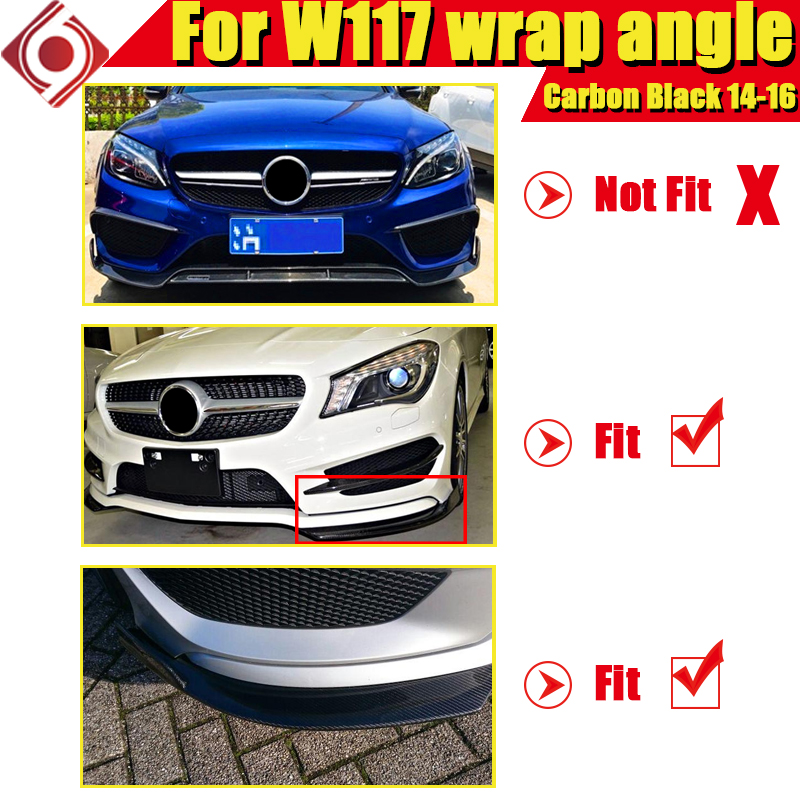 CLA W117 Front Bumper Wrap angle carbon For MercedesMB CLA180 CLA200 250 CLA45AMG look Sports lip spoiler splitter flaps 2014 16 in Bumpers from Automobiles Motorcycles