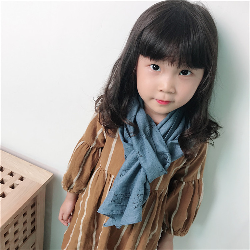 Korea Handmade Cotton Linen Print Cartoon Sheep Kids Children Girls Scarf Wrap Shawl Fall Winter Apparel Accessories-OZKSF020C5