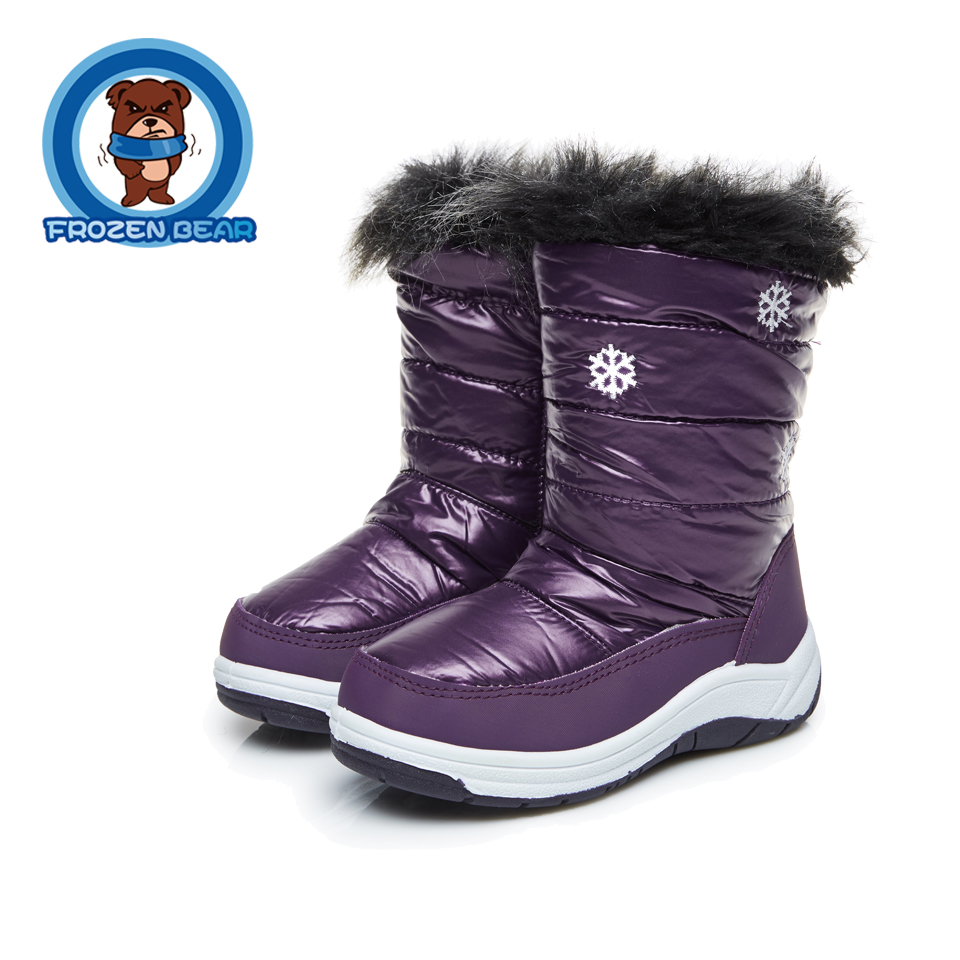 Snow Toddler Fur Soft Warm Boots Purple White Mid-calf Kids Booties Waterproof Baby Shoes Little Girls Boys Infant Boot KT906-2