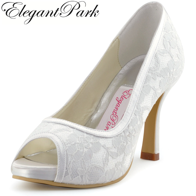 Woman shoes 014-IP white ivory lace shoes high heel pumps women wedding shoes for bride comfortable bridal heels with platform carollabelly sweet flower women pumps high heels lace platform pearls rhinestone wedding shoes bride dress shoes summer sandals