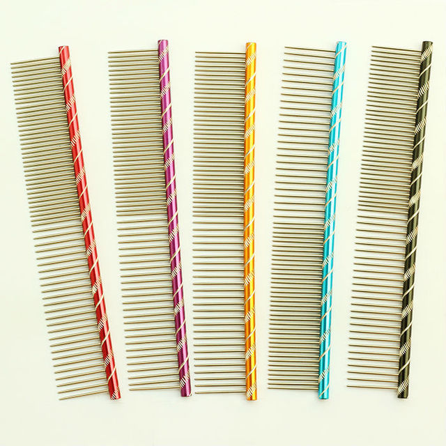 dreambows Vertical stripes Pet Dog Comb 6062003 Shaggy Dog Grooming Comb 5 Color