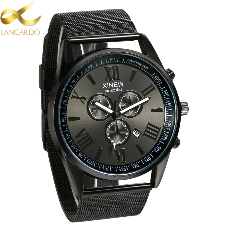 Lancardo Self-design Men Watches Top Brand Luxury Date Clock Male Steel Strap Business Quartz Watch Men Sports Wrist Watch 2017 luxury brand binger date genuine steel strap waterproof casual quartz watches men sports wrist watch male luminous clock