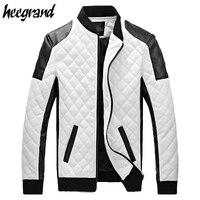 Новинка 2017 года Дизайн Для мужчин куртка осень-зима из PU искусственной кожи черный и белый Мода Тонкий плед куртка для мужчин Прямая доставк...