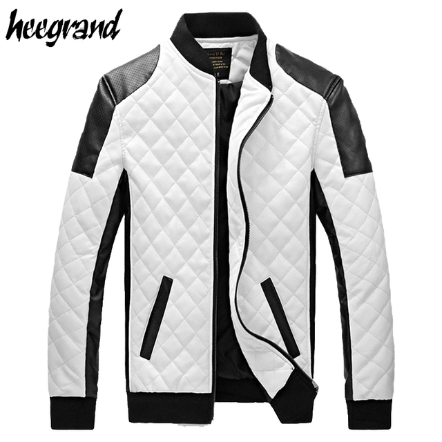 3b1877deb96 2017 New Design Men s Jacket Winter Autumn PU Leather Black White Fashion  Slim Plaid Jacket For Man Drop