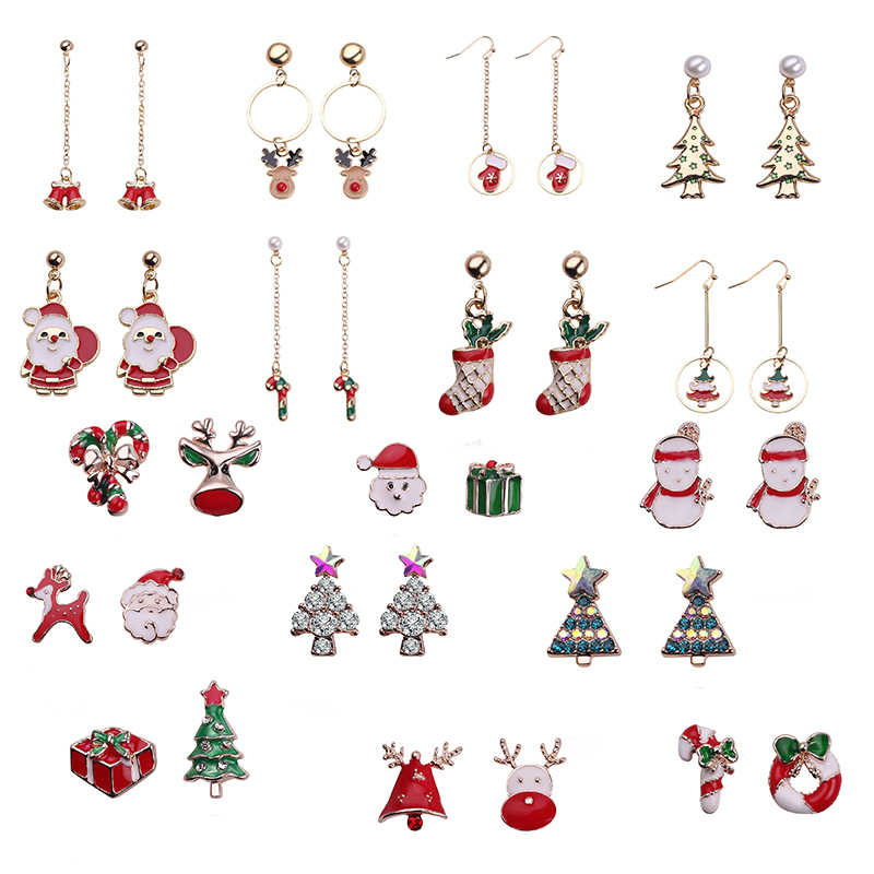 Santa Claus Christmas Earrings Snowman Deer Bell Christmas Tree Ear Jewelry Accessories Lovely Xmas Gifts for Women Girls