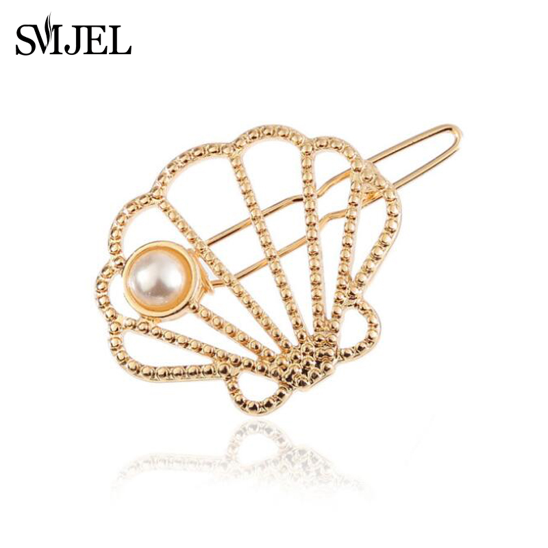 SMJEL Fashion Vintage Beach Shell Pearl Hairpins Women Girls Party Accessories Jewelry Gold/ Silver Barrettes Hair Clips
