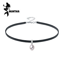 MINTHA vòng cổ ngọc trai, tự nhiên màu trắng ngọc trai, chuỗi vòng cổ, bead necklace choker necklace phụ nữ Fine wedding engagement jewelry(China)