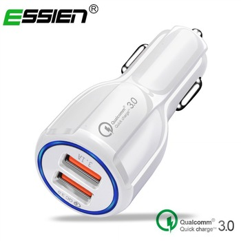 Essien Dual USB Car Charger adapter Quick Charge 3.0 Phone Universal Car fast charger for Samsung HTC car charger Fast charger