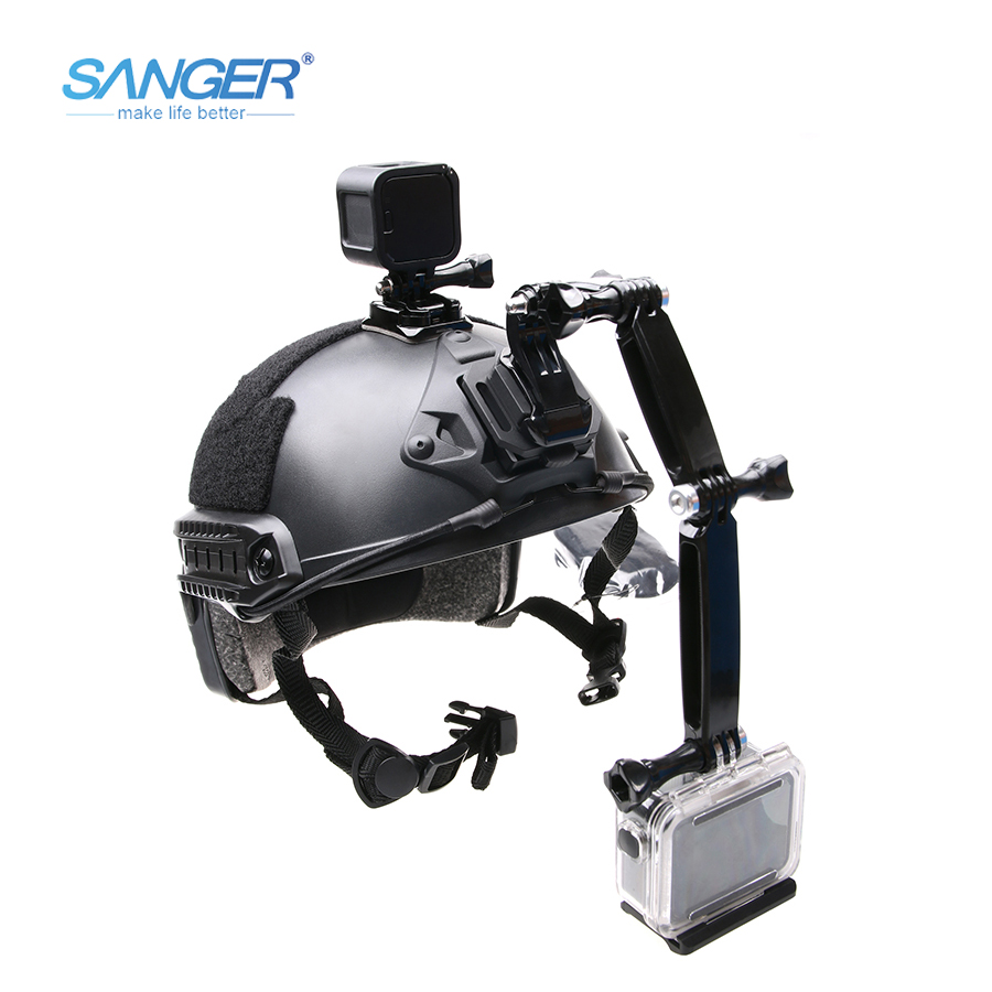 SANGER for Gopro Accessories Extension Arm Pole Mount Helmet Set for Gopro Hero 4 3+ 3 Camera Pole Mount Set Tripods Accessory sports camera gopro selfie extension stick 17 inch adjustable cnc aluminum extension magic arm mount kit for dslr lcd monitor