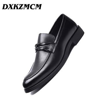 DXKZMCM Zapatos de vestir para hombre, zapatos formales de cuero para hombre, oficina de negocios, zapatos de boda planos