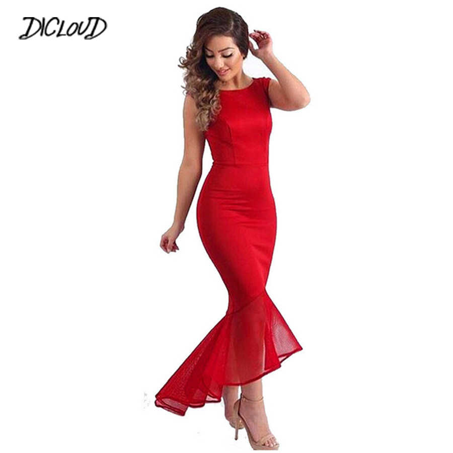 77f4ec9677 Detail Feedback Questions about Sexy Tight Fishtail Dress Women Sleeveless  Round Neck Long Dress Female Summer Irregular Party Red Maxi Dress Ladies  ...