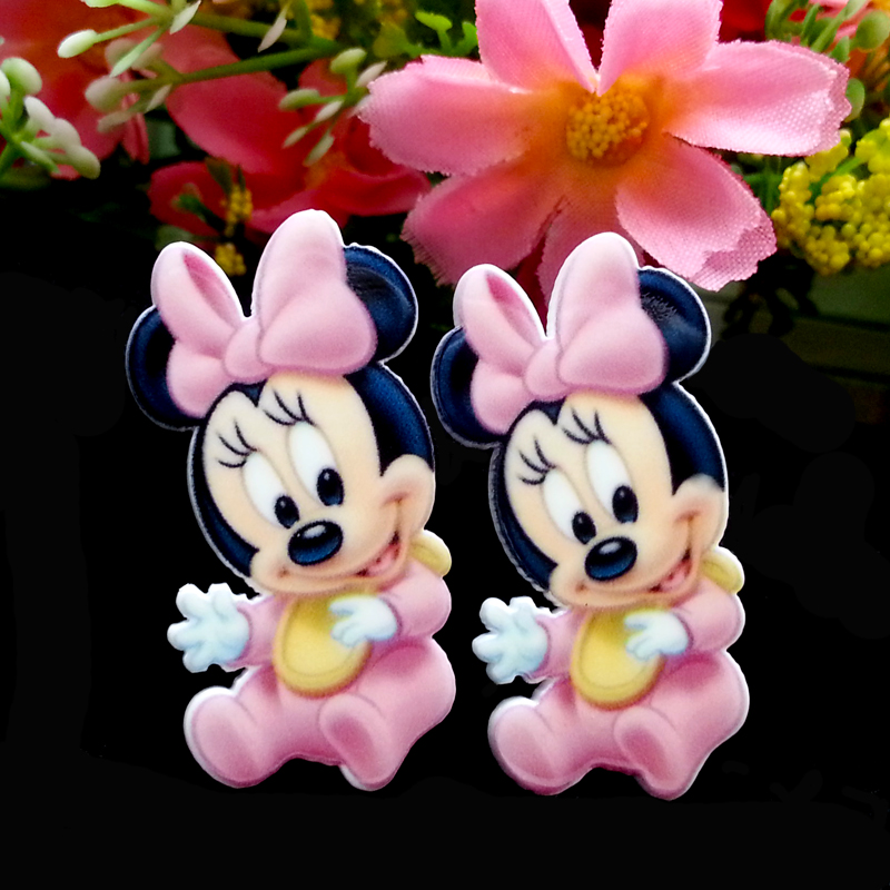 40pcs/Lot 37x19mm Baby Minnie Mouse Planar Resin Cabochons Flat Back Hair Bow Center Card Making Craft Embellishments