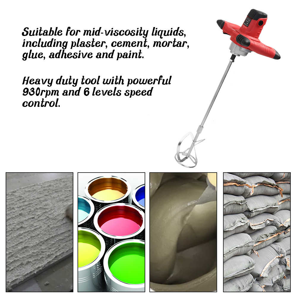 Industrial Handheld Grade Mixer Electric Speed Control Paint Cement Plaster Mortar Coating Putty Powder Mixing Machine