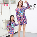 2016  NEW Mom and Daughter Dress  Mother Daughter Dresses Cartoon  Mother and Daughter Clothes 2-10Yrs Girls Dress Lovely