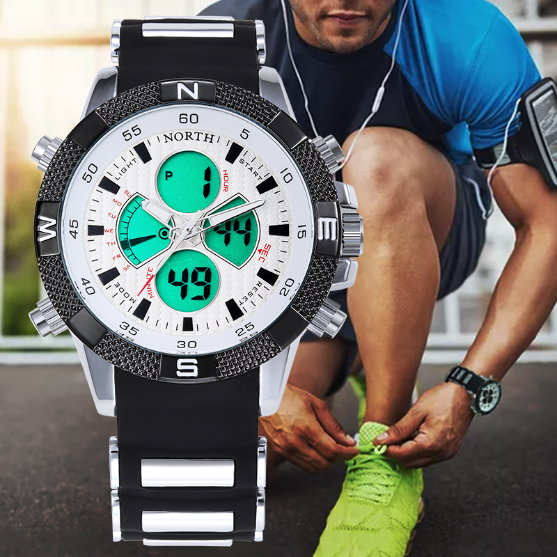 NORTH Male Sport Wristwatch 2017 Casual Silicone Strap LED Digital Analog Watch Military Waterproof Quartz Men Sport Wrist Watch goblin shark sport watch 3d logo dual movement waterproof full black analog silicone strap fashion men casual wristwatch sh165