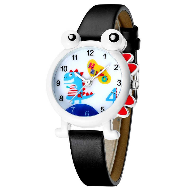 2019 KDM חמוד ילדי שעון יפה ילדים בני שעונים קריקטורה דינוזאור עמיד למים אמיתי עור ילד שעוני יד סטודנטים שעון