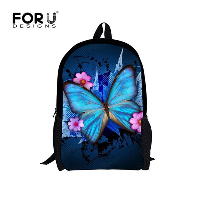 FORUDESIGNS 3D Butterfly School Bags for Teenage Girls Cat Owl Dog Tiger Leopard Student Schoolbag Child Bookbag Kids Mochila