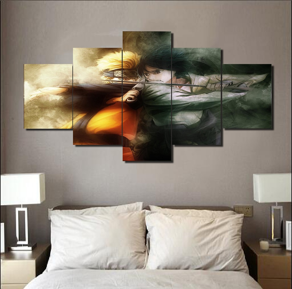 Top Modern Abstract Naruto Anime Canvas Pianting On The Wall 5Pcs ...