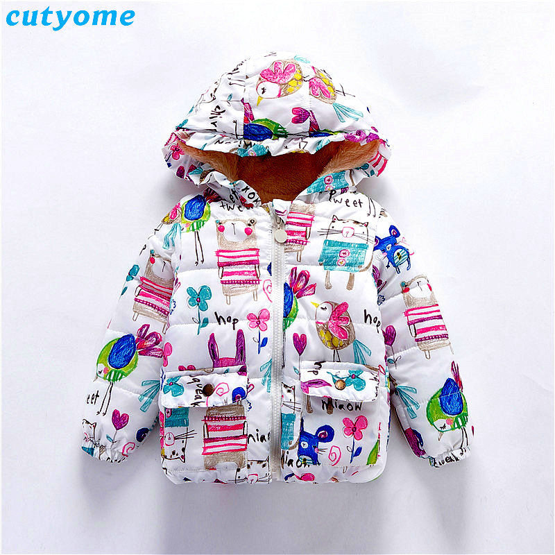 Cutyome Winter Down Jacket Clothes For Children Girls Graffiti Hooded Parkas Coat Toddler Kids Girl Warm Thick Down Coat Outwear girl coat winter duck down and jackets kids outwear warm jacket girls clothes parkas children baby girls clothing with hooded