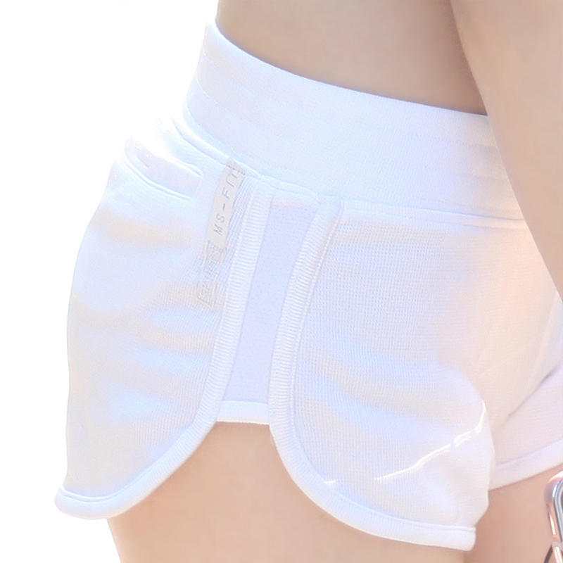 White Sexy Yoga Shorts Elastic Waist Gym Workout Shorts For Female Athletic Sportwear  Breathable Leggings Compression Shorts