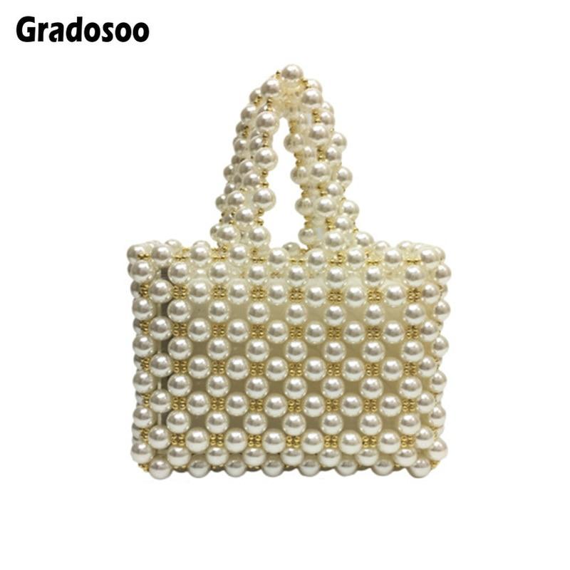 Gradosoo perles en métal sac de perles femmes tissé à la main perles sacs à main femme petit sac fourre-tout pour femmes marque Design femmes pochette LBF556