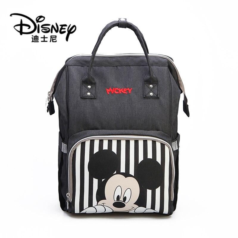 Disney Mickey Minnie Travel Diaper Bag Bolsa Maternidade Waterproof Stroller Bag USB Baby Bottle Warmer Mummy