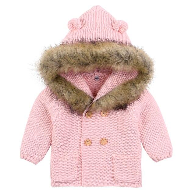 Baby Boys Girls Knit Cardigan Winter Warm Newborn Infant Sweaters Fashion Long Sleeve Hooded Coat Jacket Kids Clothing Outfits 2
