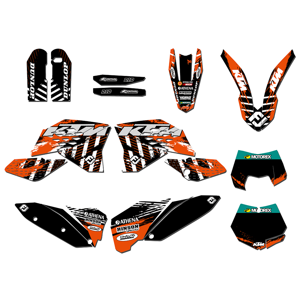 Motorcycle 3M Graphics <font><b>Decal</b></font> Stickers For <font><b>KTM</b></font> 125 200 250 300 350 450 530 SX SXF 2007-2010 EXC XCF <font><b>2008</b></font> 2009 2010 2011 Pegatinas image